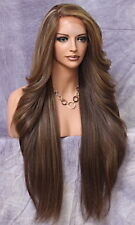 Extra Long Human Hair blend Heat OK Full Lace Front Wig Brown Mix BPC 8/27/613
