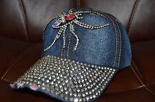 Women Rhinestone Crystal Studded Light Blue Sparkle Baseball Spider Hat Cap