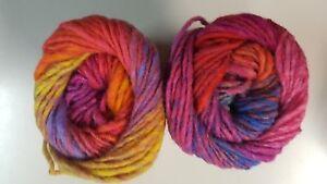 Noro Kureyon #102 Pink Orange Purple Yellow Blue 100% Wool 50g