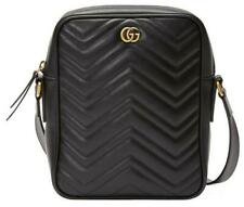 NEW GUCCI MARMONT BLACK MATELASSE CHEVRON LEATHER DOUBLE G MESSENGER BAG