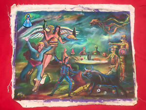Mexican Folk Art Miguel Hernandez Trump In Magical Land Of Oddities Painting