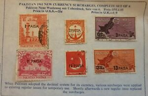 Pakistan 1961; Pakistan neue Währung mit Überdruck 1961; Satz aus 6 Marken