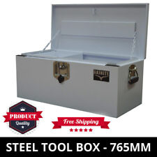White Steel Toolbox 765MM With Steel Tool Tray Heavy Duty Tool Box Ute Toolbox