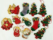 Vintage Angel Stocking Red Green Holiday Christmas Tree Ornament Lot