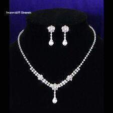 Parure collier boucles mariage goutte d'eau Swarovski® Elements strass pq or