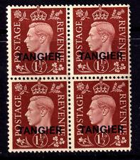 """UK 1937 KGVI 1 1/2d Brown Overprinted """"TANGIER"""" In Black - Block Of Four - MUH"""