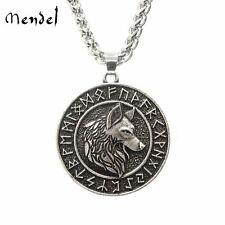 MENDEL Mens Vintage Norse Viking Rune Wolf Head Pendant Necklace For Men Women