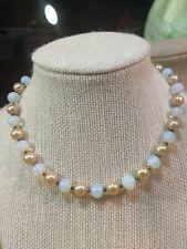 "Necklace Choker Art Deco 17"" Vtg Antique Chalcedony+Faux Pearl Bead"