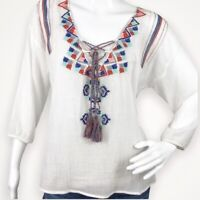 aANTHROPOLOGIE LOVE STITCH Ivory Multicolor BOHO EMBROIDERED PEASANT Top MEDIUM