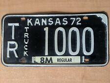 1972 Kansas License Plate TR 1000 Truck Tag