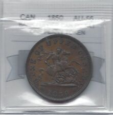 **1850**Provinc of Canada, One Penny Token, Coin Mart Graded**AU-55**PC-6A1