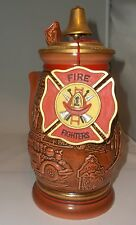 Avon TRIBUTE TO AMERICAN FIRE FIGHTERS Beer Lidded Stein Tankard Large Mint!
