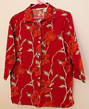 Red Silk Floral Jacket, French Laundry Size Small , 3/4 Sleeve Button Front
