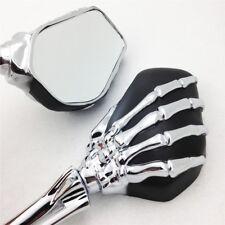 Skull Skeleton Mirrors For Harley 8mm Yamaha Suzuki Kawasaki Honda 10mm Mounting