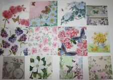 Set of 12 Paper Napkins for Decoupage Paper Crafts Flowers Floral Butterfly 3ply