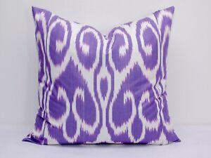 Violet Ikat pillow cover cushion, Uzbek ikat design pillow oriental design home