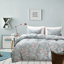 Flamingo Bedding Grey Duvet Cover Set Pink Flamingo and Palm Tree Bedding Set