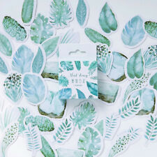 45Pcs Mint Plants Leaves Mini Paper Stickers Decor Diary Scrapbook Album Label