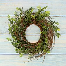Rustic Artificial Boxwood and Twig Wreath, Fireplace Porch Balcony Decor 12-Inch