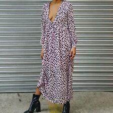 StuffWithPrints Pink Leopard Maxi Dress Size L/12 Brand New