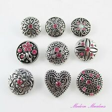 Pink Themed Rhinestone Noosa Style Snap on Chunk Button 20mm Select Design