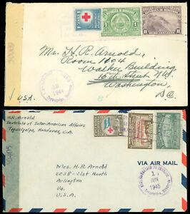 1944-5 WWII TEGUCIGALPA, HONDURAS LOT/2 Censored Covers W Tape to WASH DC, USA