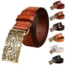 Fashion Women's Ladies Retro Palace Belt Leather Band Flower Printed Waist Belts