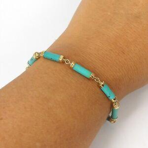 Wert 420 € Türkis Armband in 585er 14 K Gelbgold Länge 19 cm