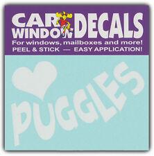 Car Window Decals: I Love Puggles | Dogs | Stickers Cars Trucks Glass