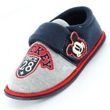 Boys Mickey Mouse Retro Badge Touch Fasten Slippers Shoe Sizes 4-11