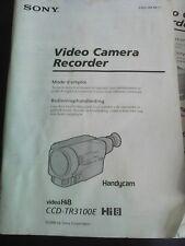 NICE SONY HANDYCAM CCD-TR3100E PAL VIDEO HI8 INSTRUCTION MANUAL,VGC