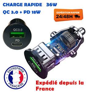 Chargeur Téléphone Voiture Allume Cigare 12/24V 36W PD & QC 3.0 Pour iPhone