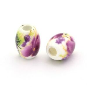 White/Violet Porcelain Beads Oval 8 x 10mm Pack Of 10