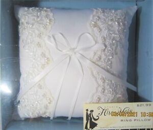 Studio HIS& HERS Ring Pillow w/ Pearl & Sequin Trimmed Lace Overlay Side Panels