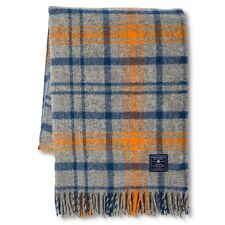 NEW Faribault Woolen Mill Company Plaid Wool Throw Blanket - Heather Grey/Blue