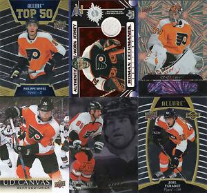 PHILADELPHIA FLYERS Lot of 10 Hockey cards, includes Memorabilia & Rookie cards