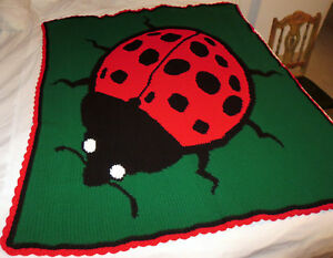HANDMADE Crochet AFGHAN Knit THROW Red LADYBUG Quilt COUCH Lap KIDS Bed BLANKET!