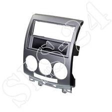 Doppel 2-DIN Radioblende Radio Blende KFZ mit Fach für Mazda 5 2006-2012 Silber