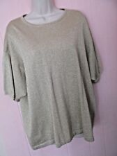 MARISA CHRISTINA WOMEN'S PLUS 2X GOLD METALLIC SWEATER TOP SHORT SLEEVES LOVELY