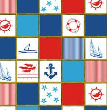 Baumwolle Stoff Anker Boot Maritim Seil Meterware weiß blau rot Deko Stoffe