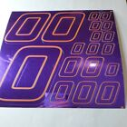 PURPLE CHROME /GOLD #0's Decal Sticker Sheet DEFECTS  1/8-1/10-1/12 RC Mo BoxD