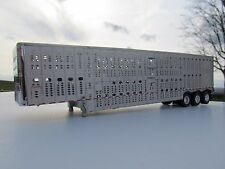 DCP 1/64 SCALE WILSON LIVESTOCK TRAILER TRIPLE AXLE SILVER SIDES & FRAME