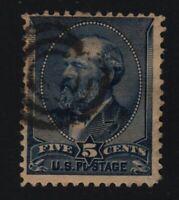 1888 Sc 216 used 5c indigo  CV $20