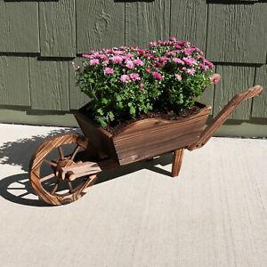 "Sunnydaze Wooden Decorative Wheelbarrow Garden Flower Planter - 35"" x 10"" x 11"""