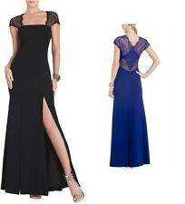 BCBG MAX AZRIA JULIA FITTED LACE-BACK GOWN Dress Black/blue/coral UYS6U532 PROM