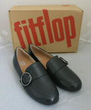 Fitflop Lena Buckle Loafers All Black Leather Ladies Slip On Flat Shoes Box Sz 3