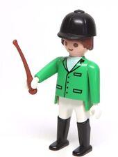 Playmobil Figure Horse Farm Equestrian Jockey w/ Green Jacket Hat Whip 3854