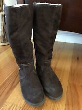 Women's (Size 8) Suede Winter Boots Fold over Brown