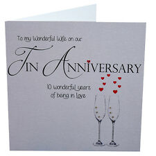 10th Tin Wedding Anniversary Card for Wonderful Wife, Handmade 148mm x 148mm sq