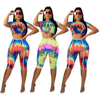 Fashion Women New Short Sleeve Ripped Tie Dye Print Crop Top Short Jumpsuit 2pcs
